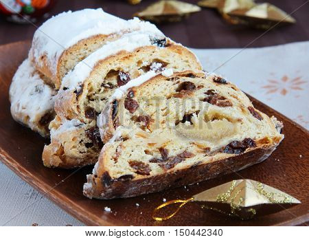 Traditional european christmas sweet dessert , stollen