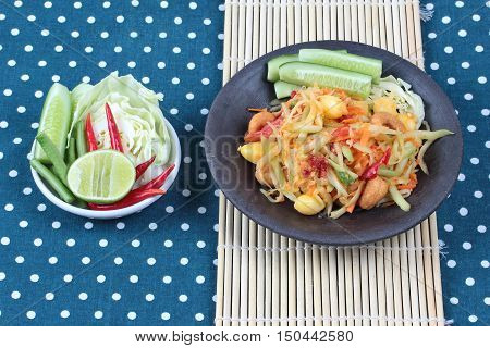 Vegetable festival as  spicy papaya salad with mixed vegetable call