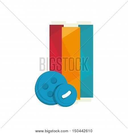 spool of colorful thread and blue button icon. vector illustration