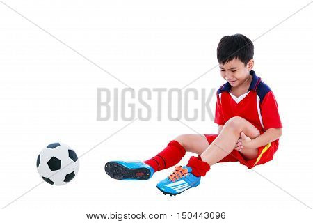 Youth Asian Soccer Player With Pain At Leg. Full Body.