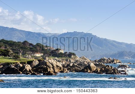 Coastline Along The 17 Mile Drive In Pebble Beach Of  Monterey Peninsula. California. Large Waves Co