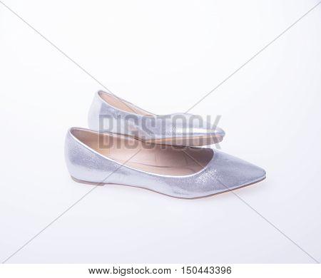 Shoe. Silver Colour Fashion Woman Shoes On A Background.
