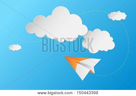 Abstract Background With Paper Plane, Clouds And Blue Sky