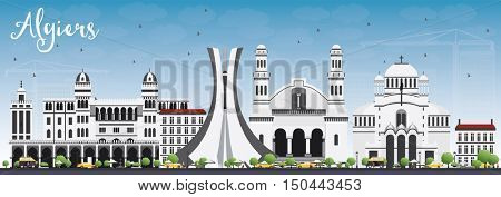Algiers Skyline with Gray Buildings and Blue Sky. Business Travel and Tourism Concept with Historic Architecture. Image for Presentation Banner Placard and Web Site.