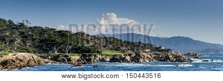 Panoramic view of coastline along the 17 Mile Drive in Pebble Beach of Monterey Peninsula. USA. California.