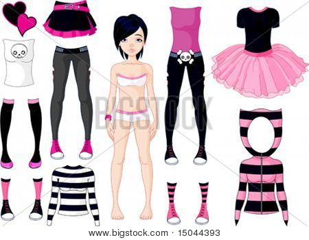 Paper Doll with different dresses .  Emo stile