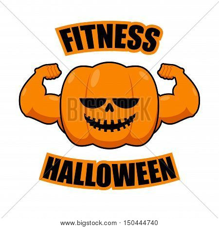 Fitness Halloween. Pumpkin With Muscles. Vegetable With Large Hands. Powerful Fruit Bodybuilding. Ve