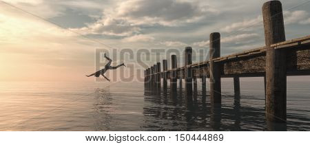 Man jumping from the pontoon to ocean. This is a 3d render illustration