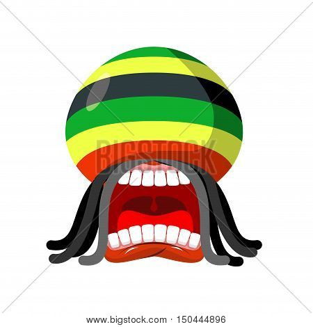 Rastaman Screams. Rasta Cry. Open Your Mouth And Teeth. Loud Scream. Rastafarian Hat And Dreadlocks.