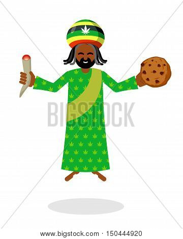 God Ganja. Idol Jah Gives  Rasta Cookies And Joint Or Spliff. Reggae Rastafarian Hat And Dreadlocks.