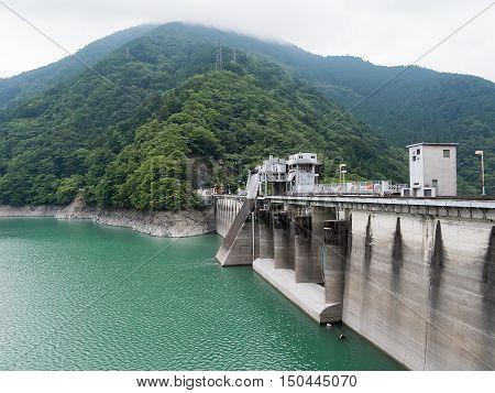 Landscape of Ikawa Dam (Ikawa Hydro Power Plant) in Shizuoka, Japan.