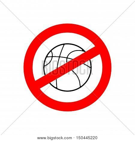 Stop Basketball. Prohibited Team Game. Red Prohibition Sign. Crossed-gaming Ball. Ban Symbol