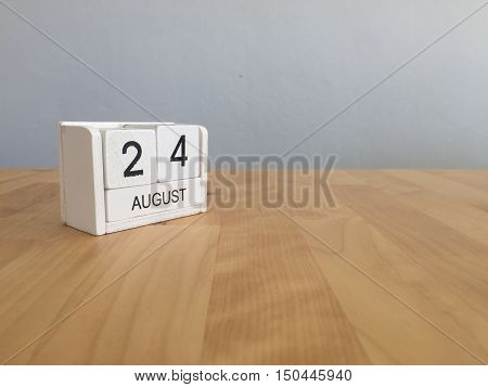 August 24Th.august 24 White Wooden Calendar On Wood Background.summer Day.copyspace For Text.