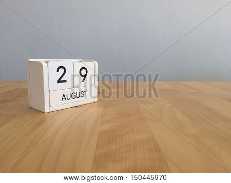 August 29Th.august 29 White Wooden Calendar On Wood Background.summer Day.copyspace For Text.