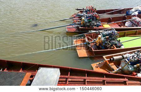 Long tail boat on the Chao Phraya River in Bangkok