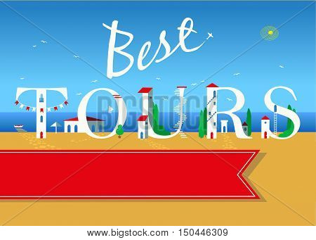 Best tours. Travel card. White buildings on the summer beach. banner for custom text. Plane in the sky.