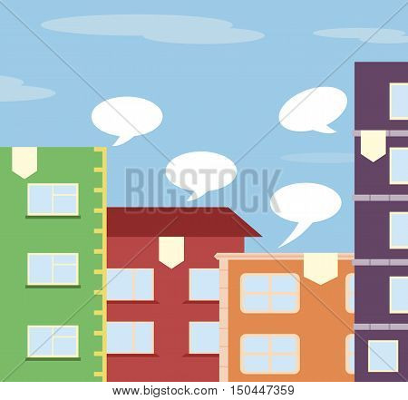 Flat City illustration with houses and speech bubbles