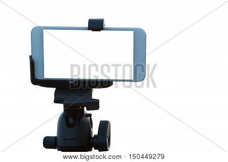 Mobile Phone on tripod isolated on white background.