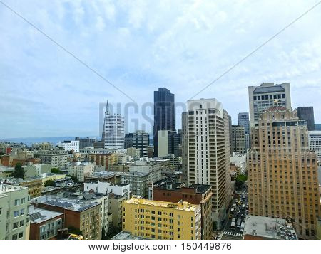 San Francisco Cityscape with Downtown Skyscrapers in a Distance. San Francisco, California, USA. San Francisco