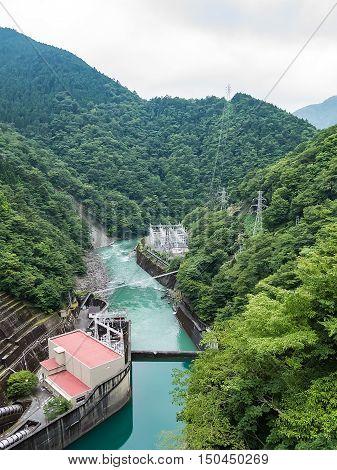 Landscape of Ikawa Hydro Power Plant and Ikawa River in Shizuoka, Japan.