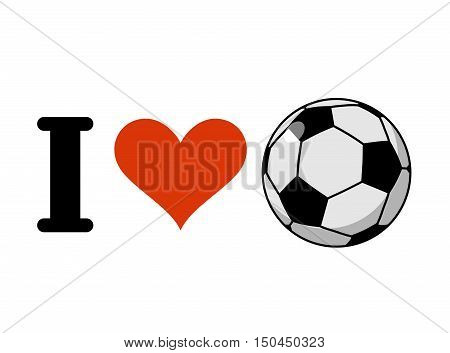 I Love Soccer. Heart And Ball. Logo For Sports Fans Of Football