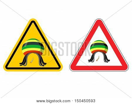 Warning Sign Rastaman. Attention Stoned Drug Man. Dangers Yellow Sign Rasta Hat And Joint Or Spliff.