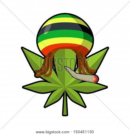 Leaf Marijuana And Reggae Cap With Dreadlocks. Green Leaf Cannabis Smoking Joint Or Spliff. Freaky E