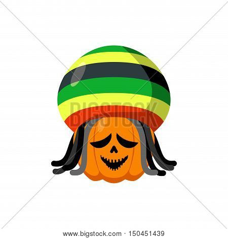 Rasta Halloween. Rastaman Hat And Dreadlocks. Pumpkin For Rastafarians. Symbol Terrible Holiday In J