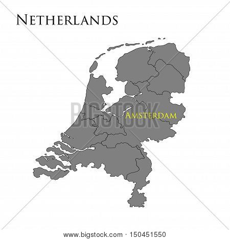 Contour map of Netherlands on a white background. Vector illustration