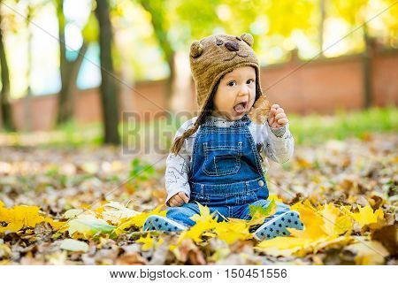 Happy happy baby sitting in the park with yellow leaves in autumn in bear cap. In autumn park kid sitting in yellow leaves. Cheerful baby sitting in the park in bear cap. Warm autumn day in the park.