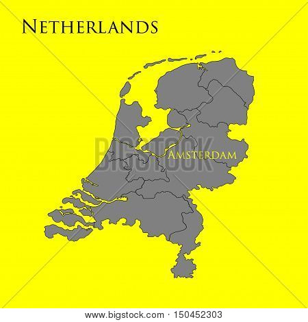 Contour map of Netherlands on a yellow background. Vector illustration