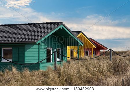 Colorful Wooden Tiny Houses On The Island