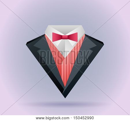 Illustration of origami men's suit with a butterfly tie and logos for your design