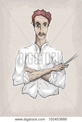 Man male human hairdresser barber coiffeur haircutter in white shirt with foxy hair folded hands pair of scissors. Vector vertical closeup front view beautiful signboard illustration barbershop barber's salon
