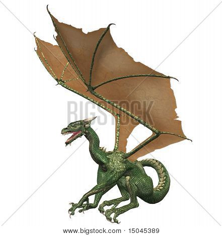 A medieval green beast with wings and sharp teeth - dragon, flying dinosaur type lizard creature. poster