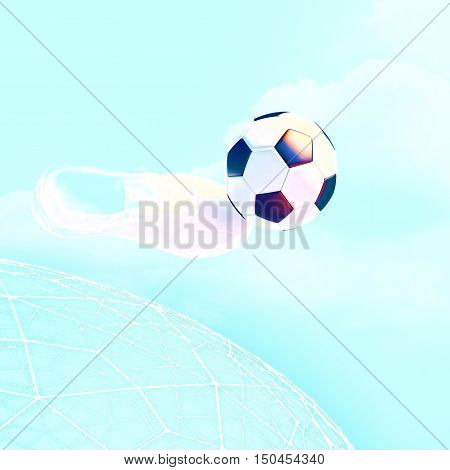 Concept or conceptual 3D soccer ball in with a blue sky background metaphor to sport goal competition play team fun stadium meadow activity soccerball. 3D illustration