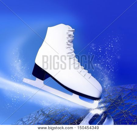 Figure skating. The skate for figure skating against the background of an ice skating rink. 3D illustration