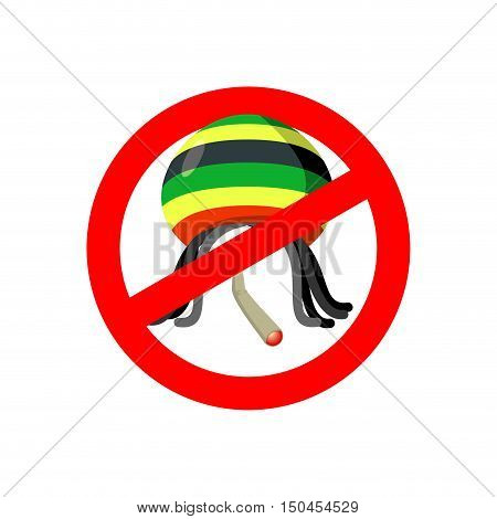 Stop Rastaman. Prohibited Stoned Drug Man. Dangers Red Sign Rasta Hat And Joint Or Spliff. Crossed-m