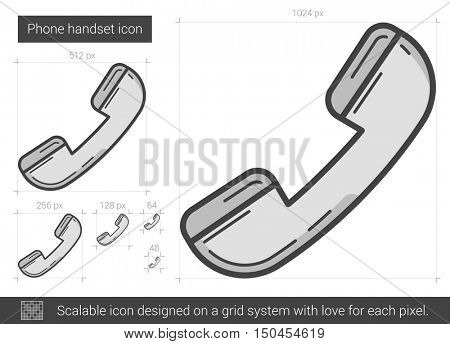Phone handset vector line icon isolated on white background. Phone handset line icon for infographic, website or app. Scalable icon designed on a grid system.