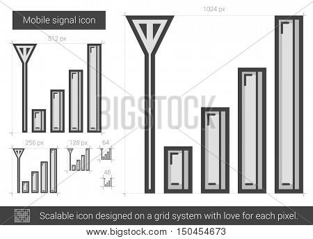 Mobile signal vector line icon isolated on white background. Mobile signal line icon for infographic, website or app. Scalable icon designed on a grid system.