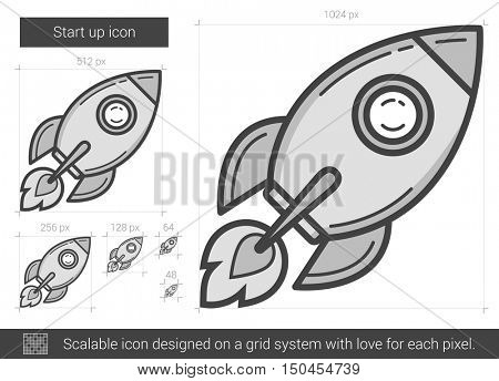 Start up vector line icon isolated on white background. Start up line icon for infographic, website or app. Scalable icon designed on a grid system.