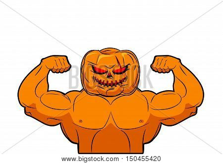 Powerful Pumpkin. Fruit Bodybuilding With Muscles. Vegetable With Large Hands. Fitness Halloween. Ve