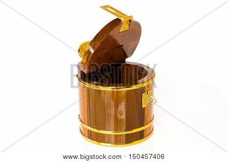 Round Wooden Money Box