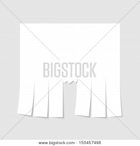 Blank advertisement template with cut slips. Vector illustration