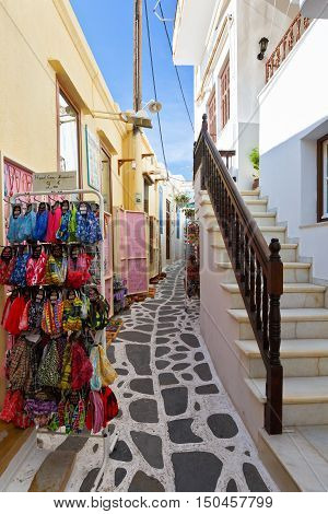 NAXOS, GREECE - SEPTEMBER 22, 2016: Shops in the old town of Naxos on September 22, 2016.