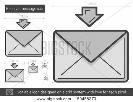 Receive message vector line icon isolated on white background. Receive message line icon for infographic, website or app. Scalable icon designed on a grid system.