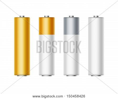 Vector Set of White Golden Yellow Silver Gray Glossy Alkaline AA Batteries Of Diffrent Color for branding Close up Isolated on White background