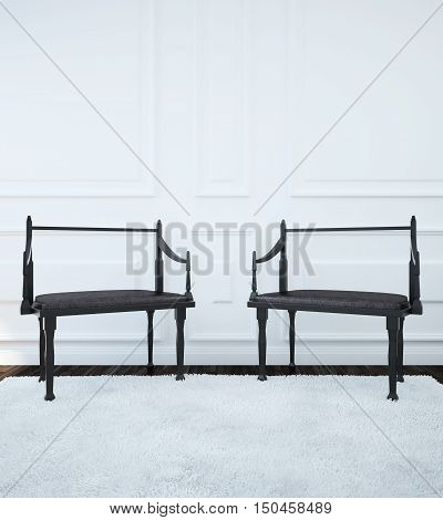Image of the interior with two chairs in the Gothic style. 3d illustration