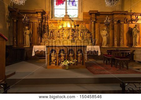Poitiers France - September 12 2016: Part of the interior of the church of Saint-Porchaire in Poitiers France