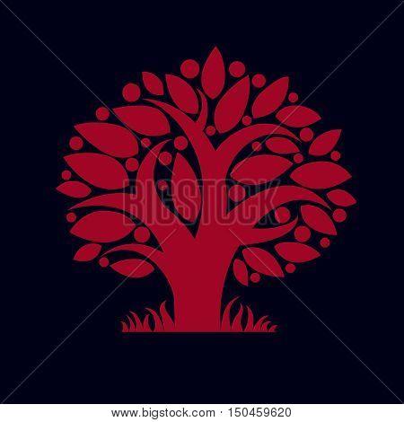 Tree with ripe apples harvest season theme illustration.